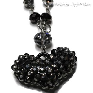 Silver Tone Black Rhinestone Heart Long Necklace